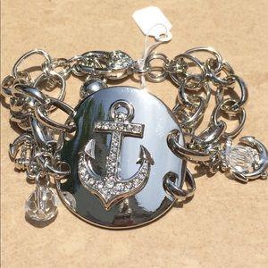 Jewelry - Silver Tone Crystal Beach Anchor Crystal Bracelet
